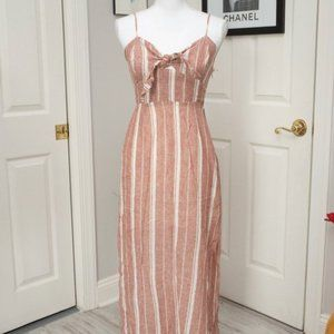 NWT Forever 21 Striped Linen-Blend Maxi Dress
